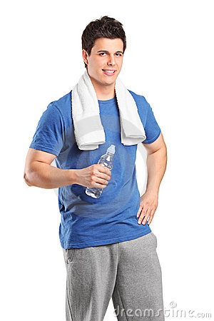 Young man with water bottle after his exercising