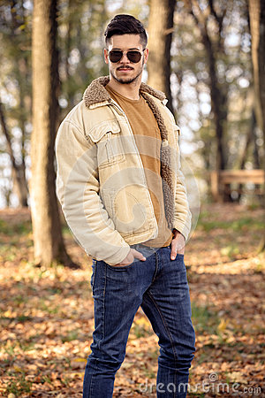Free Young Man Wearing Autumn Fashionable Clothing Stock Image - 40823821