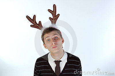 Young man wearing deer s horns