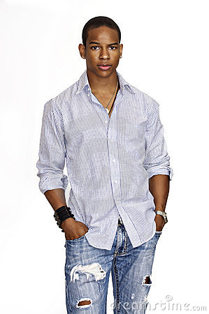 Young Man Wearing Dress Shirt And Jeans Royalty Free Stock