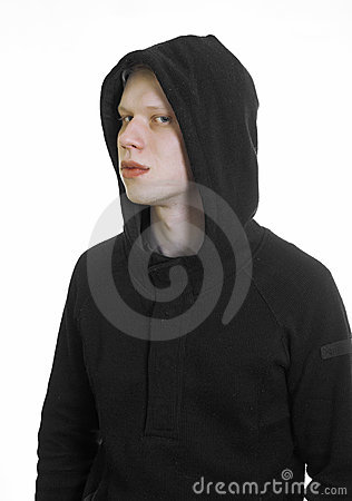 Young man wearing hood