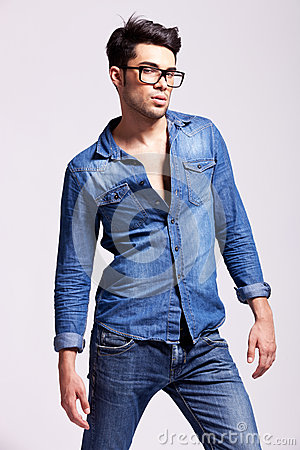 Young man wearing jeans shirt