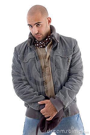 Young man wearing winter jacket