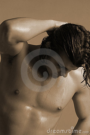 Young man with wet hair