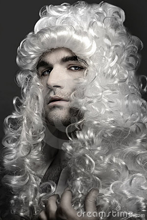 Young man in wig
