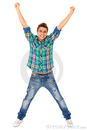 Free Young Man With Arms Raised Stock Photo - 16450110