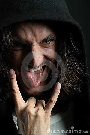 Free Young Man With Characteristic Heavy Metal Tongue G Royalty Free Stock Photo - 8617565