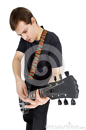 Free Young Man With Electric Guitar Isolated On White Background. Per Stock Photo - 42062860
