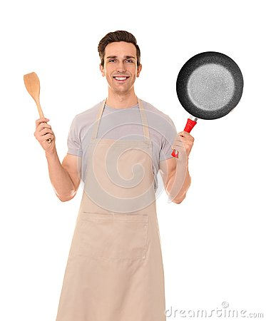Free Young Man With Frying Pan And Spatula, Isolated Stock Images - 107463284