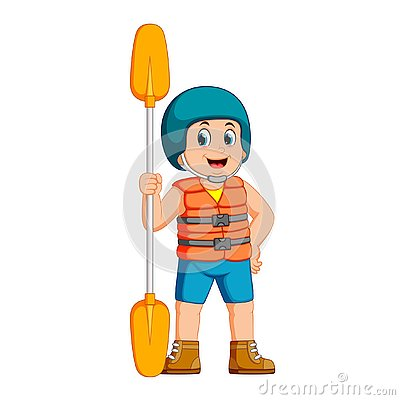 Free Young Man With Paddle And A Safety Vest Stock Images - 130425324