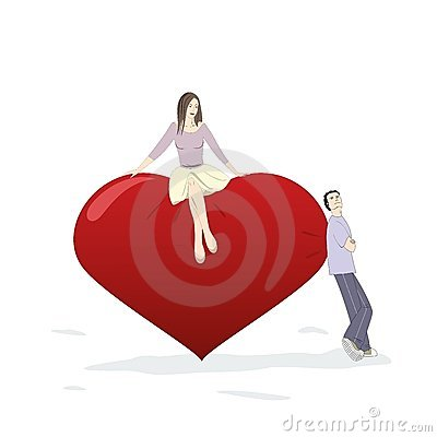 Young man and woman flirting near a big heart