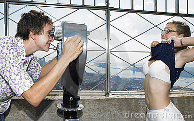 Young Man and Woman Joking Around