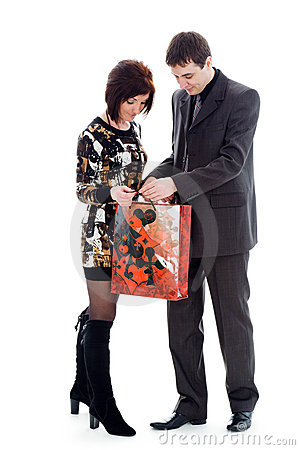Young man and woman, look in the bag.