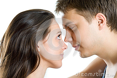 Young man and woman looking for tenderness