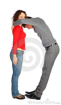 Young man and woman represents  letter D