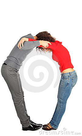 Young man and woman represents  letter o