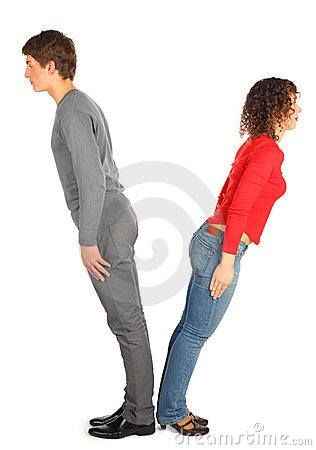 Young man and woman represents  letter V