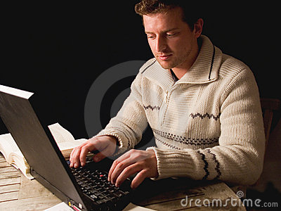 Young man working computer.