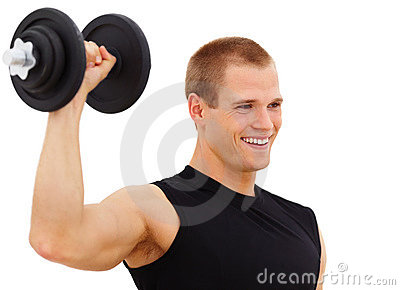 Young man working out with a dumbbell
