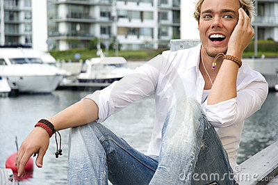 Young man at a yacht club