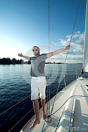 young man on a yacht