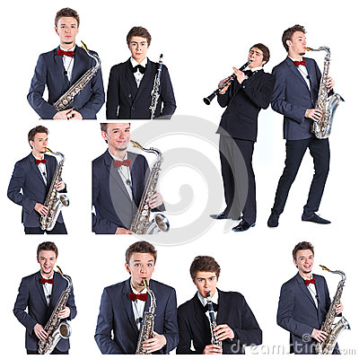 Free Young Mans Playing On Saxophone And Clarinet. Stock Images - 39805054