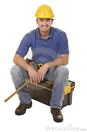 Young mantool sit on tool box