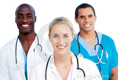 Young medical team smiling at the camera