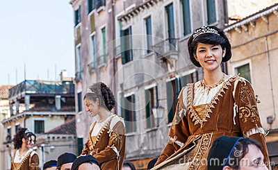 Young Medieval Ladies Editorial Stock Image