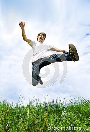 Young men jump