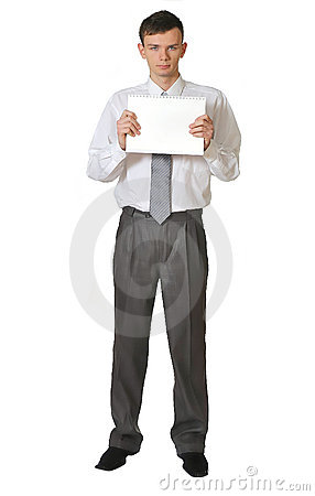 Young men  read book on white background r