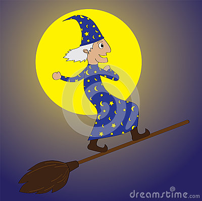 Young Merlin-flying by using a broom in night time