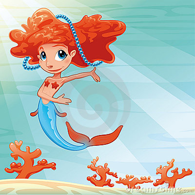 Young mermaid with background.