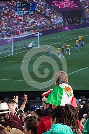Young Mexican Fan watching the Olympic Final Editorial Photo