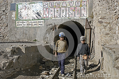 Young miners, child labor in Huanuni, Bolivia Editorial Photography