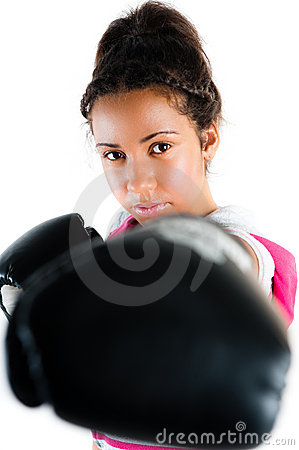 Young mixed race boxing teenager, punch and jab