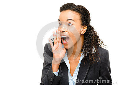 Young mixed race businesswoman shouting isolated on white