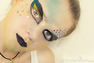 Young model with a bright make-up