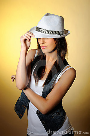 Free Young Model In Jeans And White Hat Royalty Free Stock Photo - 14156845