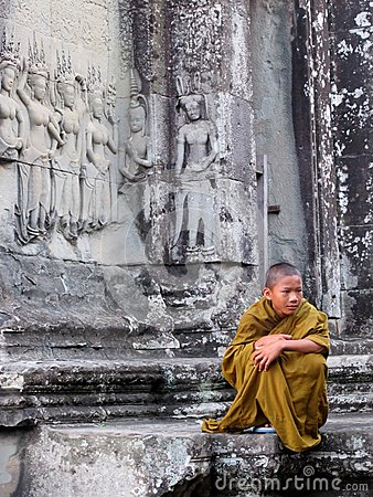 Free Young Monk With Pensive Expression Royalty Free Stock Image - 65758766