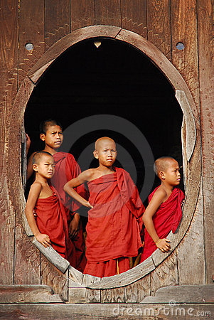 Young monks in myanmar Editorial Photo