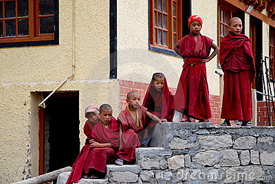 Young monks at their monastery Editorial Image