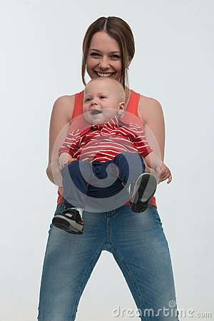 Free Young Mother And Her Toddler Son Having Fun Stock Photography - 43202632