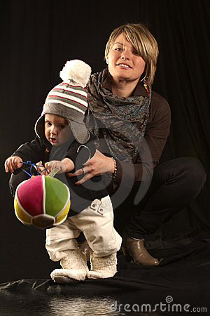 Young Mother with Baby Son