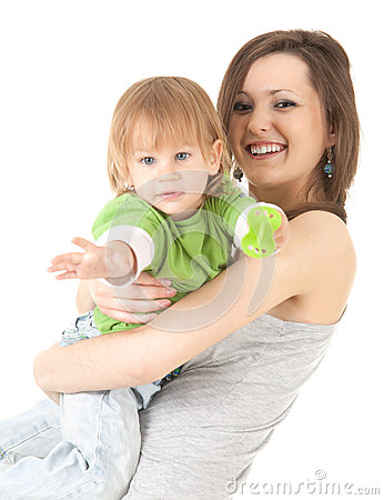 Young mother cuddling baby son