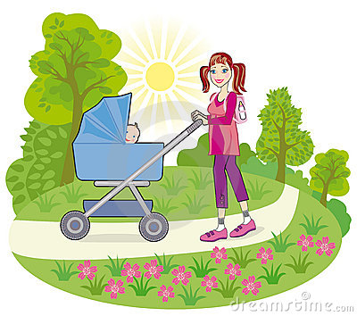 A young mother goes for a walk with a baby