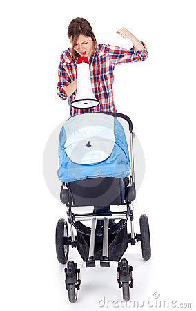 Young mother with megaphone and baby pram