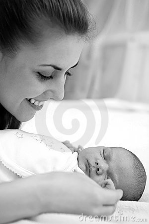 Young mother and newborn baby boy