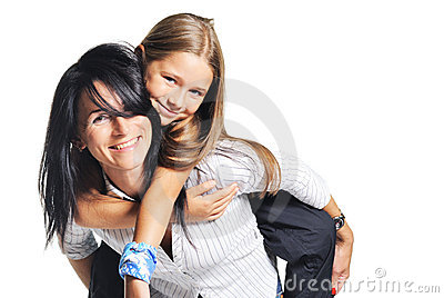 Young mother playing with daughter. On white