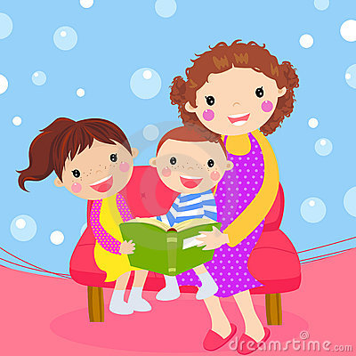 Young mother reading book to her children